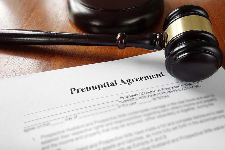 Prenuptial agreement with a gavel