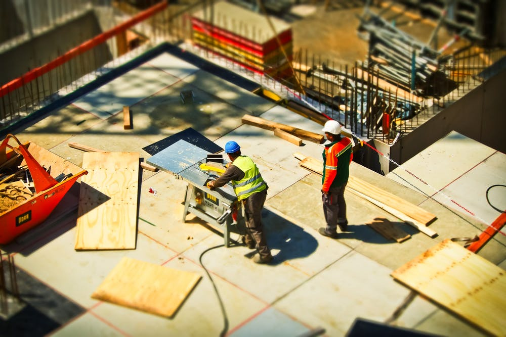 Workers in the construction site